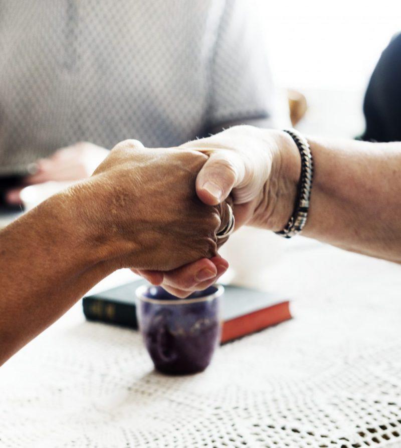 Mediation in business handshake
